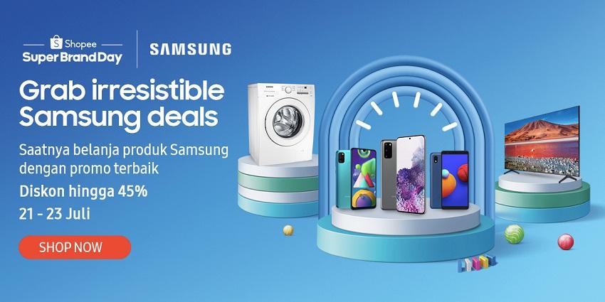 Dengan tema 'Treat Yourself', konsumen di enam negara dapat menikmati akses mudah ke penawaran menarik untuk produk-produk Samsung di Shopee di bulan Juli. (Gambar: dok. Samsung Electronics)