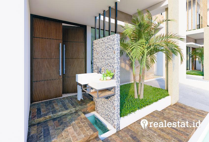 Teras rumah dilengkapi dengan tempat cuci tangan, sebagai salah satu bentuk aplikasi protokol kesehatan pencegahan Covid-19.