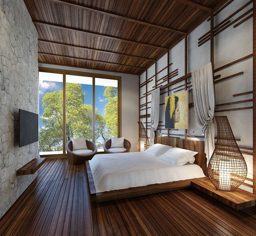 Contoh inspirasi kamar tidur yang menerapkan nuansa alami, selaiknya villa. (Foto: narasidesign.com)