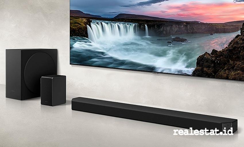 Samsung Soundbar HW-Q950T memiliki True Dolby Atmos 9.1.4, dengan speaker yang menembakkan suara ke berbagai sudut. (Foto: dok. Samsung Electronics Indonesia)