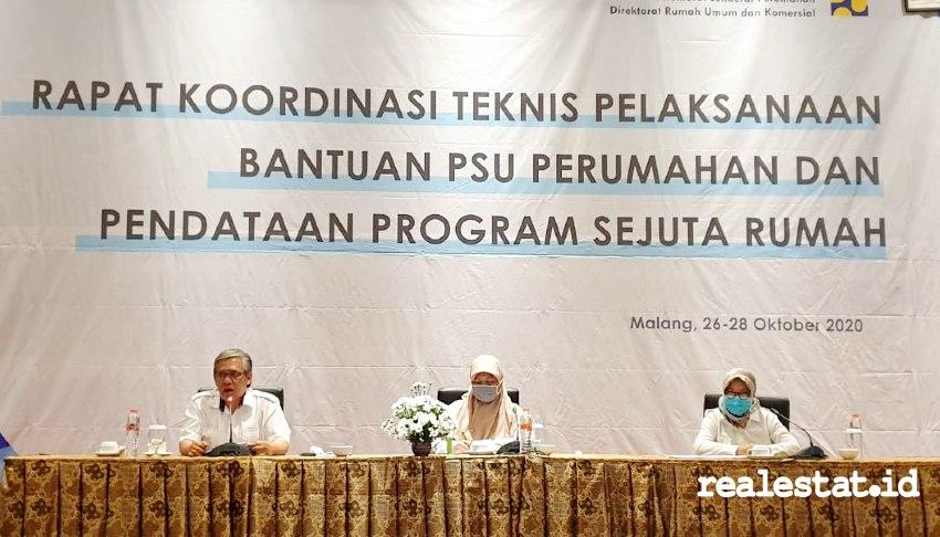 Rapat Koordinasi Teknis Pelaksanaan Bantuan PSU Perumahan dan  Pendataan Program Sejuta Rumah. (Foto: Dok. Kementerian PUPR)