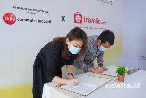 Penandatanganan kesepakatan kerja sama antara Grand Central Bogor dengan Travelio, Kamis (3/12/2020).