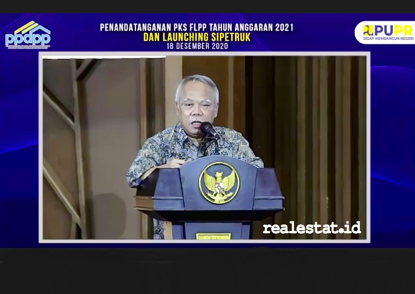 Menteri PUPR, Basuki Hadimuljono saat meresmikan peluncuran aplikasi SiPetruk. (Foto: Dok. RealEstat.id)