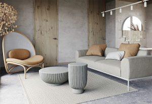 Inspirasi gaya interior Wabi-Sabi yang diterapkan pada ruang tamu. (Foto: home-designing.com)