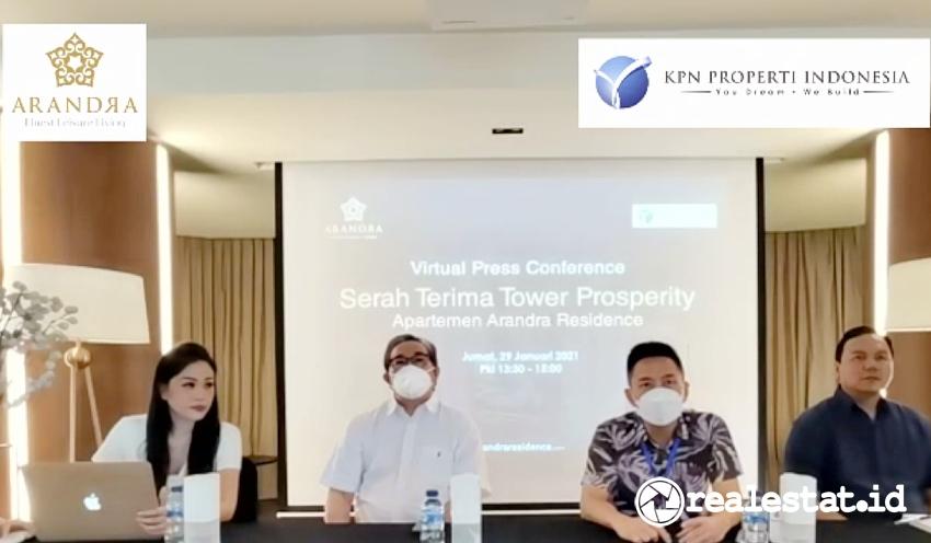 Konferensi pers serah terima unit Tower Prosperity Arandra Residence, Jumat, 29 Januari 2021.