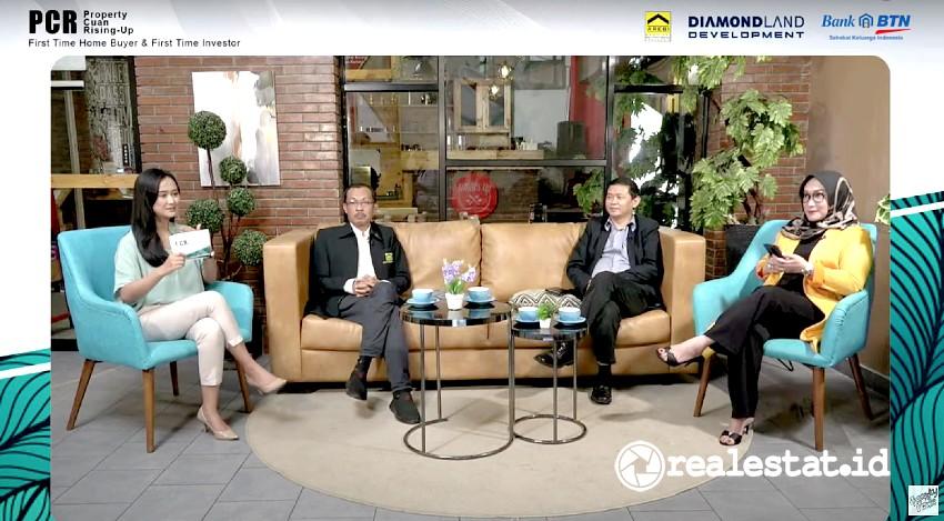 Dari kanan ke kiri: Novi Imelly, Advisor & Property Expert; Tony Hartono Marketing Director Diamond Land Development; dan Nurul Yaqin Wakil Ketua DPP Asosiasi Real Estat Broker Indonesia (AREBI) dalam webinar bertema PCR (property-cuan-rising).