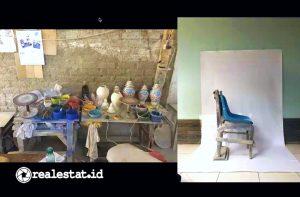 Kreasi kursi untuk membuat keramik yang dibuat dari tiga kursi berbeda. (Foto: Dok. Prananda Luffiansyah)