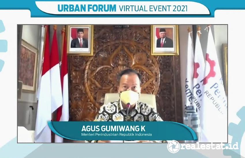 """Menteri Perindustrian, Agus Gumiwang Kartasasmita, saat membuka Urban Forum Virtual Event 2021 """"Menyambut Geliat Industri Material Pascapandemi"""", Selasa (27/7/2021)."""