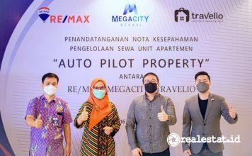 penandatanganan kerja sama auto pilot property MEGACITY Travelio RE-MAX Indonesia realestat.id dok